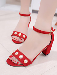 Women's Sandals Spring Summer Dull Polish Club Shoes All Match Peep Toe Comfort Suede Party & Evening Dress Chunky Heel Pearl Buckle Red Black