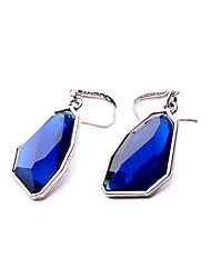 Hoop Earrings Crystal Personalized Chrome Geometric Dark Blue Jewelry For Wedding Party Birthday Gift 1 pair