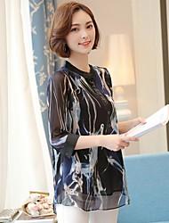 Blusa Da donna Per uscire Casual Vacanze Sensuale Vintage Semplice Per tutte le stagioni Estate,Arcobaleno Colletto alla coreana Rayon