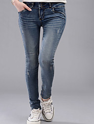 Women's High Rise strenchy Jeans Pants,Simple Skinny Solid