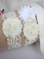 Garter Lace Flower Ribbons Imitation Pearl Feather Ribbon Sweetheart White