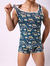 Men's Vest Christmas color elk cotton (no panties)