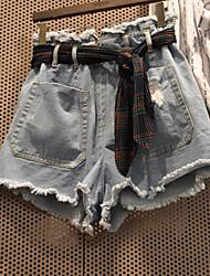 Femme simple Street Chic Taille Normale non élastique Jeans Short Pantalon,Mince Toile de jean Couleur Pleine