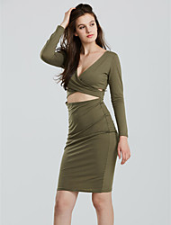 Women's Cut Out Chestward Crossover Solid Bodycon Dress,Sexy Deep V Long Sleeve
