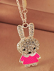 Elegant Hollow Lovely Rabbit Alloy Long Sweater Chain Pendant Necklace Girl Jewelry Gift