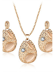 Luxury Fashion Austria Crystal Opal Water Drop Oval Jewelry Set For Women Necklace Charms Maxi Earrings Statement Wedding Bridal Jewelry Accessories