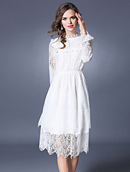 SUOQI Spring Fall Women's Dresses Going out Casual/Daily Party Cute  Lace Dress Solid Stand Long Sleeve Dress
