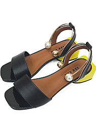 Women's Sandals Comfort PU Summer Casual Walking Comfort Beading Low Heel White Black 2in-2 3/4in