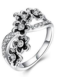 Ring Crystal AAA Cubic ZirconiaBasic Unique Design Flower Style Rhinestone Geometric Friendship Turkish Cute Style Imitation Pearl