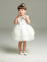Robe de bal courte / mini robe de fille fleur - organza sans manches cravate avec ruban