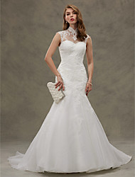 Mermaid / Trumpet High Neck Court Train Organza Wedding Dress with Appliques Button by LAN TING BRIDE®