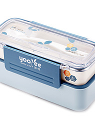 Yooyee Double Layer Plastic Lunch Box with Spoon and Fork