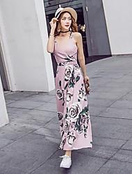 Tee Shirt Robe Femme Plage Bohème,Imprimé Col en V Maxi Sans Manches Coton Printemps Eté Taille Normale Micro-élastique Fin
