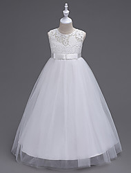 A-Line Floor Length Flower Girl Dress - Organza Sleeveless Jewel Neck with Lace