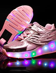 Para Meninas-Tênis-Light Up Shoes Shoe luminous-Salto Baixo-Dourado Preto Prateado Rosa claro-Tule Courino-Ar-Livre Casual Para Esporte