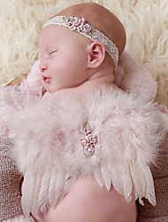Newborn Baby's Feather Handmade Flowers Modelling of the Angel White Photographic Cloths Headwear