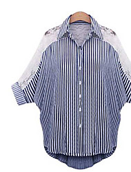 Women's Going out Simple Shirt,Striped Shirt Collar ½ Length Sleeve Cotton