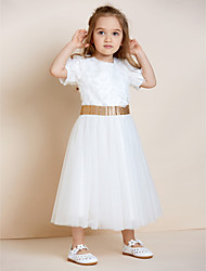 A-line Ankle-length Flower Girl Dress - Organza Satin Tulle Jewel with Appliques Draping Sash / Ribbon