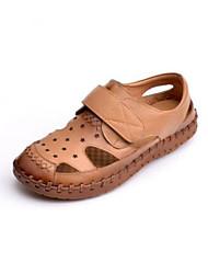 Женская обувь весна комфорт отверстие туфли воловья кожа случайный красный желтый черный