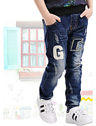 Boys' Fashion Blue Pants Full Jeans (3-12 Years Old)