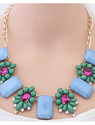 Elegant Square Gemstone Necklace Euramerican Flower Statement Strands Collar Choker Necklaces