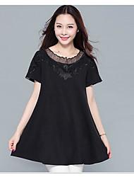 Damen Solide Einfach Ausgehen Lässig/Alltäglich Übergröße T-shirt,Rundhalsausschnitt Frühling Sommer Kurzarm Baumwolle Mittel