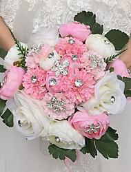 Fleurs de mariage Rond Roses Pivoines Bouquets Cérémonie de mariage Satin Strass Env.28cm
