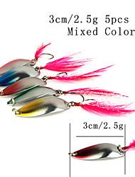 """5 Stück Angelköder Löffel Mehrfarbig g/Unze,30 mm/1-1/4"""" Zoll,MetalSeefischerei Spinn Fischen im Süßwasser Barschangeln Spinnfischen"""