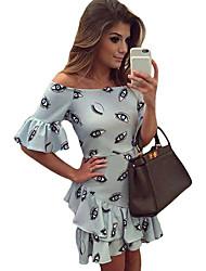 Gaine Robe Femme Soirée Sexy,Imprimé Bateau Mini Manches Courtes Bleu Polyester / Spandex Eté Taille Haute Elastique Fin