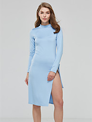 Women's Asymmetrical Party Club Sexy Simple Fashion Slim Bodycon DressSolid Bow Split Crew Neck Knee-length Long Sleeve