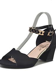 Damen-Sandalen-Lässig-PU-Blockabsatz-Komfort-