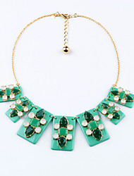 Women's Strands Necklaces Rectangle Chrome Unique Design Cute Style Light Green Jewelry For Gift Daily 1pc