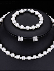 Jewelry Set Simulated Pearl Bridal Jewelry Sets Crystal Choker Necklace Earrings Bracelet Round White1 Necklace 1 Pair of Earrings 1