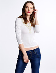 Women's Vintage/Sexy/Beach/Casual/Print/Cute/Party/Work   Long Sleeve Regular T-shirt