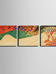E-HOME Stretched Canvas Art The Blond Woman Decoration Painting Set Of 3