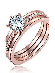 Массивные кольца Кольцо Обручальное кольцо Кристалл Мода По заказу покупателя Euramerican Медь Серебрянное покрытие Позолота Круглый
