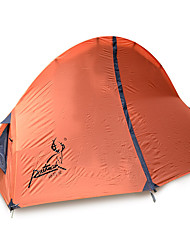 1 person Tent Double Fold Tent One Room Camping Tent Fiberglass Oxford Waterproof Portable-Hiking Camping-Orange