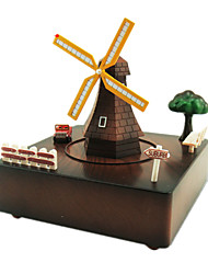 Music Box Windmill Holiday Supplies Metal Plastic Unisex