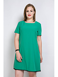 Really Love Women's Plus Size Casual/Daily Holiday Sexy Simple Cute Loose T Shirt Tunic Dress,Solid Color Block Round Neck Knee-length Short Sleeve