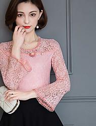 Tee-shirt Femme,Couleur Pleine Sortie simple Manches Longues Col Arrondi Fibre de bambou Nylon Spandex