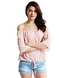 Women's Going out / Casual/Daily Sexy / Cute Fall / Winter Blouse,Solid Round Neck ¾ Sleeve Pink / White Polyester