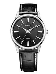 Casio Homens Masculino Relógio de Moda Relógio de Pulso Japanês Quartzo Impermeável Mostrador Grande Couro Banda Casual Preta