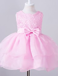 Ball Gown Knee-length Flower Girl Dress - Polyester Organza Satin Jewel with Bow(s) Lace Sash / Ribbon