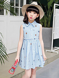 Girl's Casual/Daily Beach Holiday Solid Striped Print Dress,Cotton Summer Sleeveless