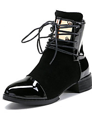 -Для женщин-Для прогулок Для офиса Для праздника-Замша Полиуретан-На низком каблуке На толстом каблуке-клуб Обувь-Ботинки