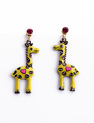 Pendientes cortos Cristal Personalizado Euramerican Forma de Animal Amarillo Joyas Para 1 par