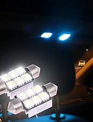 Ziqiao blanc 36mm 5050 6 smd conduit c5w voiture conduit auto intérieur dôme porte ampoule lampe éclairage lampe de travail (12v / 2pcs)