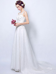 A-line Wedding Dress Vintage Inspired Sweep / Brush Train Scoop Lace Tulle with Lace