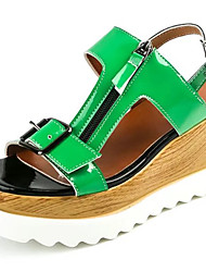 Women's Sandals Gladiator PU Spring Summer Casual Dress Gladiator Buckle Zipper Wedge Heel White Green 3in-3 3/4in