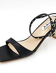 Women's Sandals Club Shoes PU Spring Summer Casual Dress Club Shoes Buckle Chunky Heel Black Beige Dark Brown 3in-3 3/4in